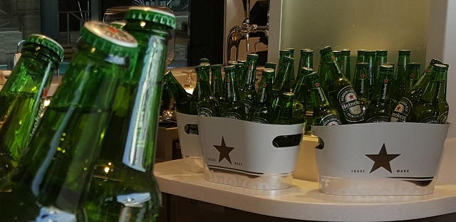 Buckets of Heinekens at a bar on the MSC Meraviglia