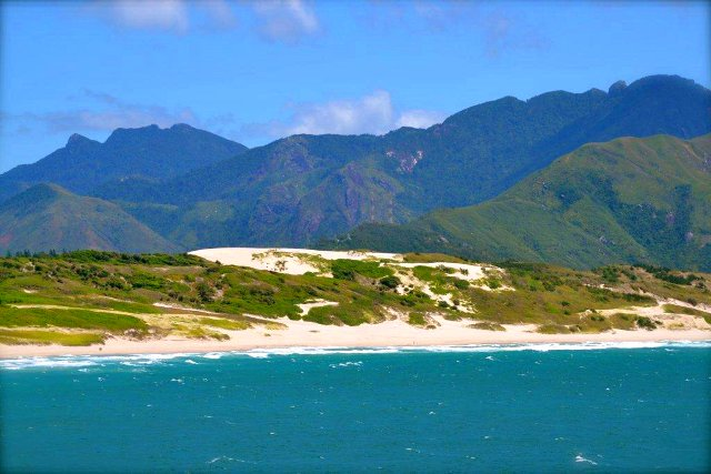 Madagascar's mountains and a beach