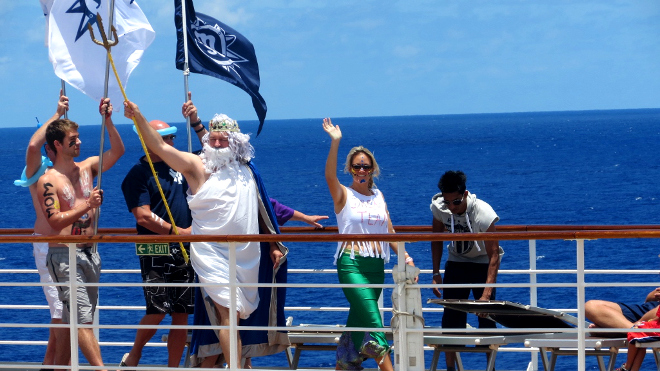 King Neptune party on the MSC Sinfonia as crosses the tropic of Capricorn