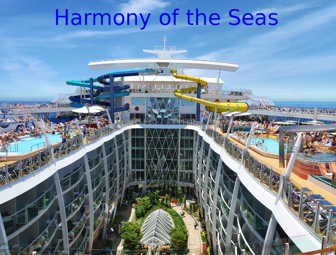 Harmony Of The Seas With Waterslides Going Over Central Park