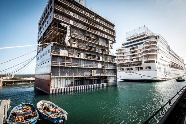 MSC Sinfonia in the dry dock being extended