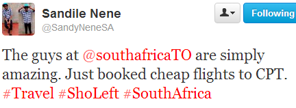 Just booked cheap flights to CPT, tweet