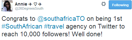SouthAfrica.TO is first South African travel agency to reach 10,000 followers on Twitter