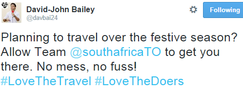 Tweet - allow @southafricaTO to get you to your destination this festive season